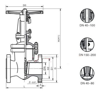 Z41W不锈钢高压闸阀结构图
