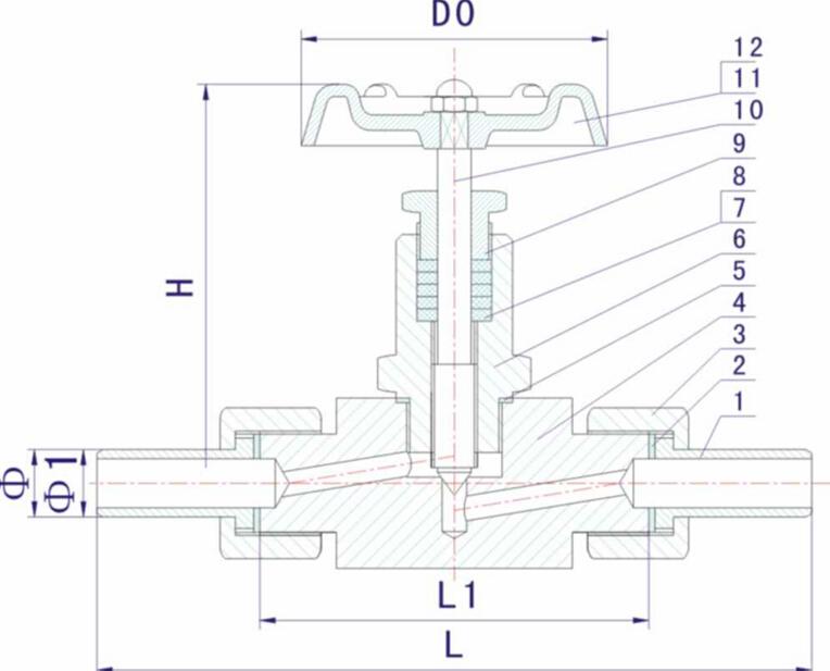 j23w外螺纹针形截止阀结构图