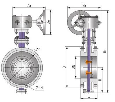 D343H不銹鋼硬密封渦輪蝶閥結構圖