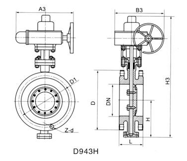D943H電動法蘭式金屬硬密封蝶閥結構圖