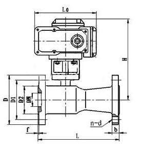Q941M電動高溫球閥主要外型尺寸