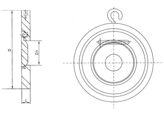 H74H超薄型对夹式止回阀结构图