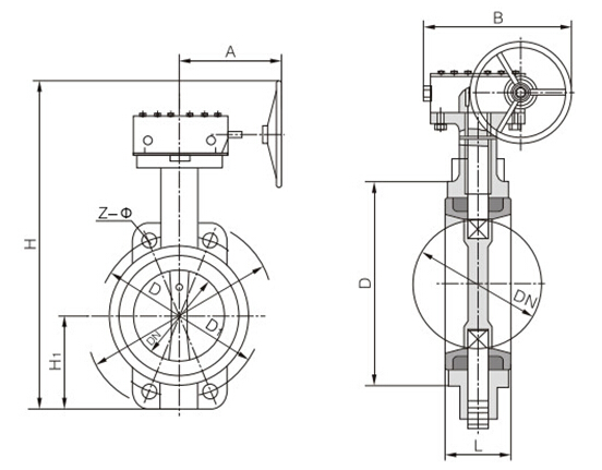 d371x蜗轮对夹式软密封蝶阀结构图