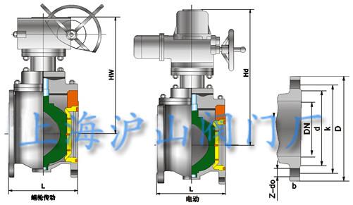 DYQ340F上装式偏心半球阀结构图