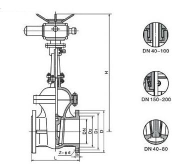 电动法兰闸阀结构图