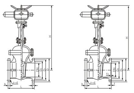 Z941H电动法兰闸阀结构图