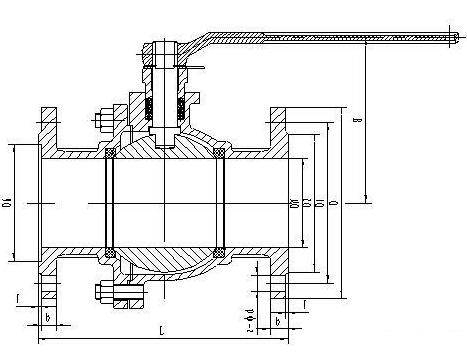 不锈钢法兰球阀结构图