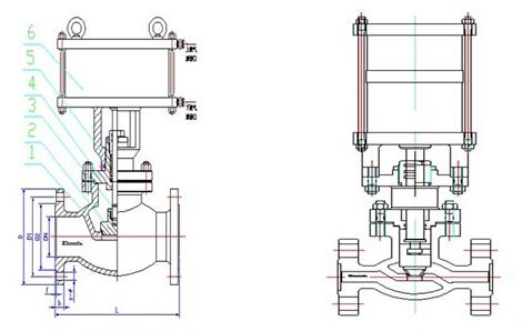 气动程控切断阀主要外型与连接尺寸