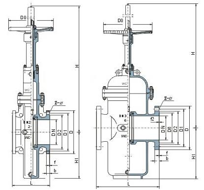 Z43F带导流孔平板闸阀主要外形与连接尺寸