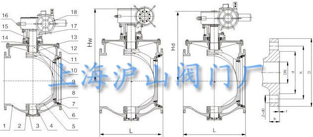PQ940F电动偏心半球阀结构图
