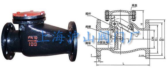 铸铁旋启式止回阀主要外形尺寸