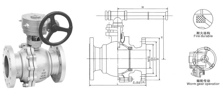 Q341F蜗轮球阀外形尺寸